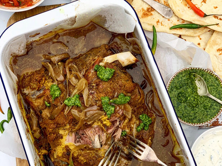Slow Cooked Indian Spiced Lamb Shoulder with Coriander Chutney