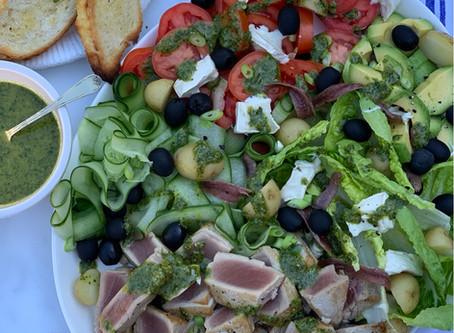 Seared Yellowfin Tuna Nicoise with Salsa Verde