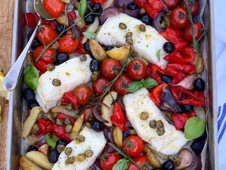 AD | Roasted Cod & Vegetable Traybake, with a Lemon & Caper dressing