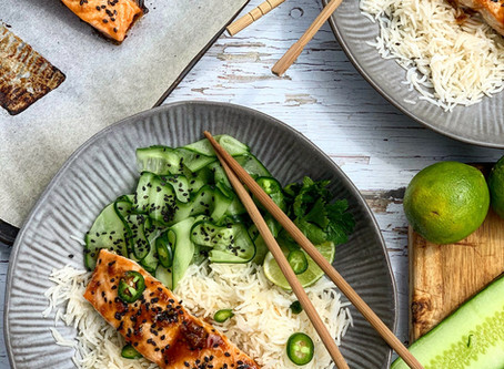 Miso Glazed Salmon with Quick Pickled Cucumber