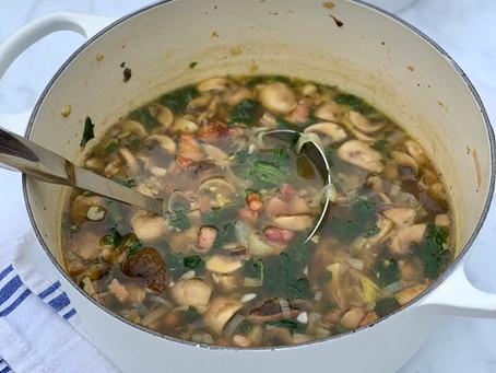 Porcini Mushroom, Pancetta & Spinach Soup