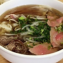 Pho with eye round steak and brisket