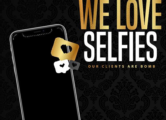 We Love Selfies Gold PNG