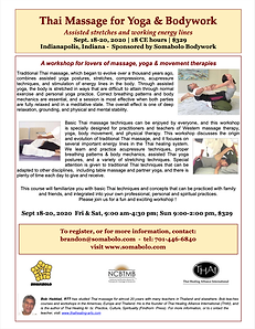 Flyer for Bob Haddad Thai Massage workshop in Indy