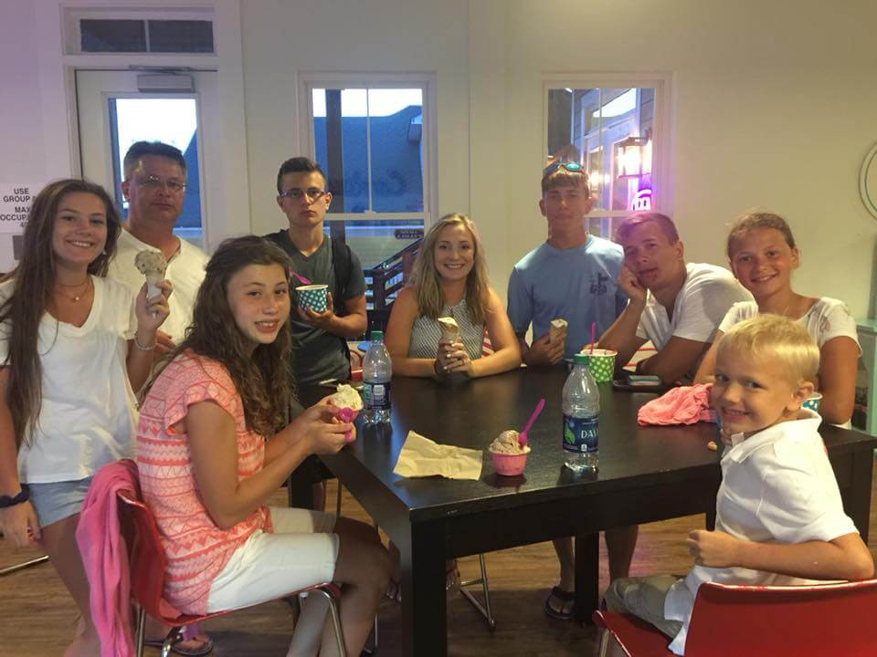 Donnelly family fun getting ice cream
