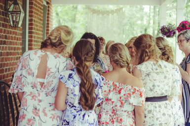 Women praying for my daughter in law at her bridal shower