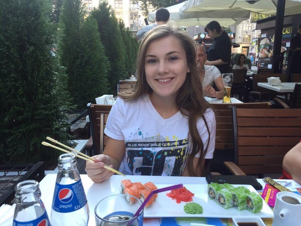 Eating sushi in Ukraine