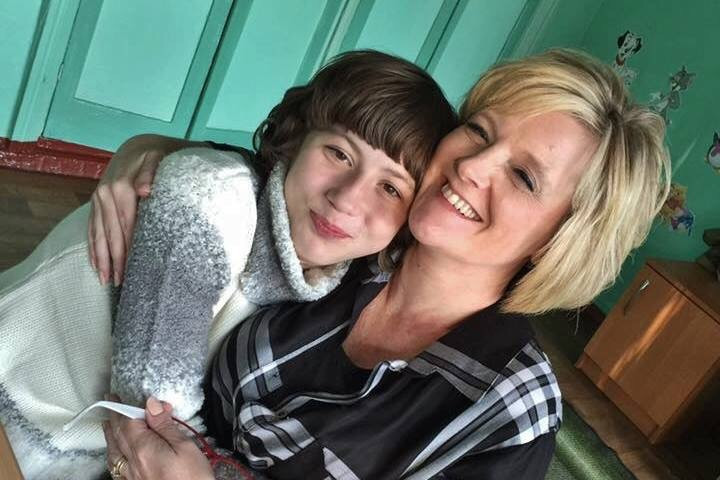 Michele Donnelly with her newly adopted child, Anna