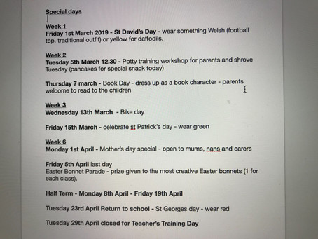Please note important days - Mother's Day we will be open to family/carers till 10.30amEaster bonnet