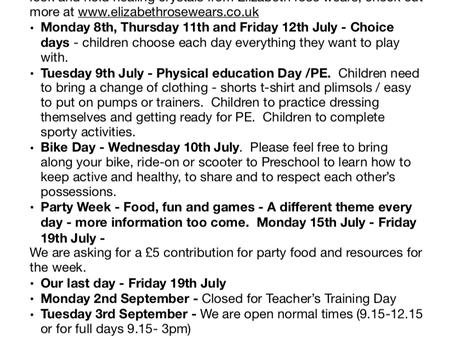 Planning and special dates xThis information is also displayed on the blog on our website and on the