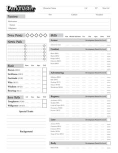Against the Darkmaster Character Sheet