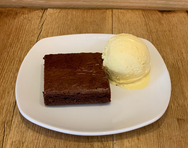 Home made Chocolate Brownie with Vanilla Ice Cream