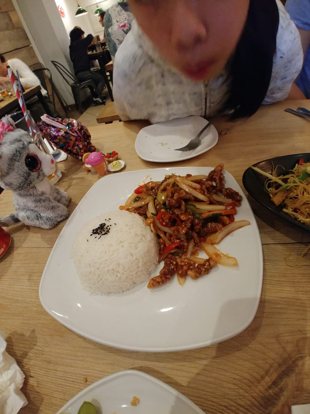 Crispy Chilli Beef with Rice