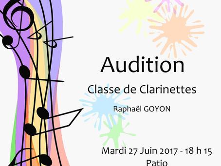 Audition de clarinettes – 27 juin 2017