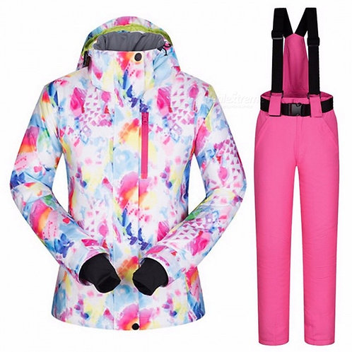 High Quality Women's Skiing Jacket and Pants Snowboard Set, Thickened Warm Water