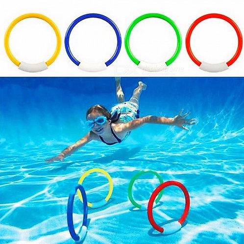 1Set Of 4Pcs Dive Rings Throwing Toys Swimming Pool Diving Game Summer Children