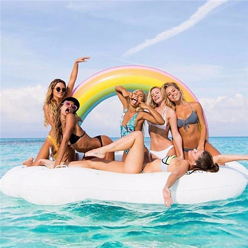 Rainbow Cloud Pool Float Inflatable Air Mattress Summer Ride-On Swimming Ring