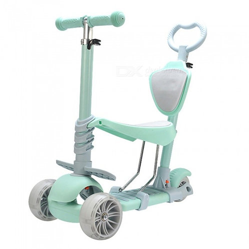 Portable Wear-Resistant 3-Wheel Scooter w/ LED Light for Kids - Mint Green