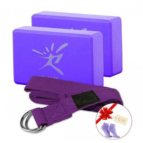 EVA Foam Yoga Pilates Bolster Block Brick with Stretching Belt Set