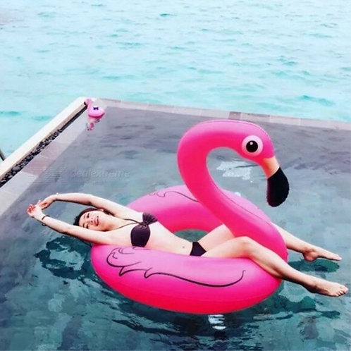 Flamingo Style Floating Pool Swimming Ring for Adults - Deep Pink