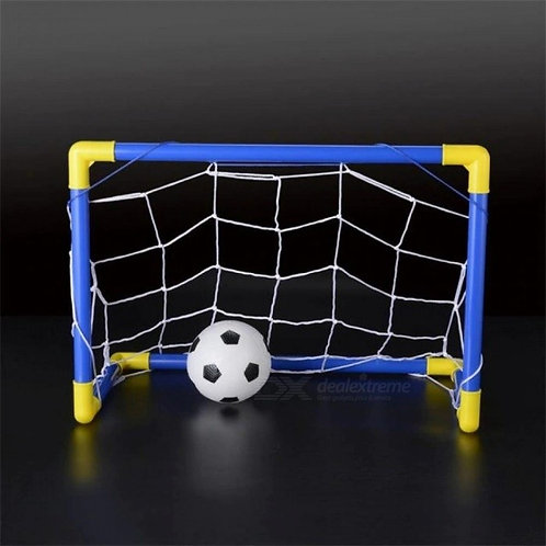 Folding Mini Football Soccer Ball Goal Post Net Set + Pump Kids Sports Indoor