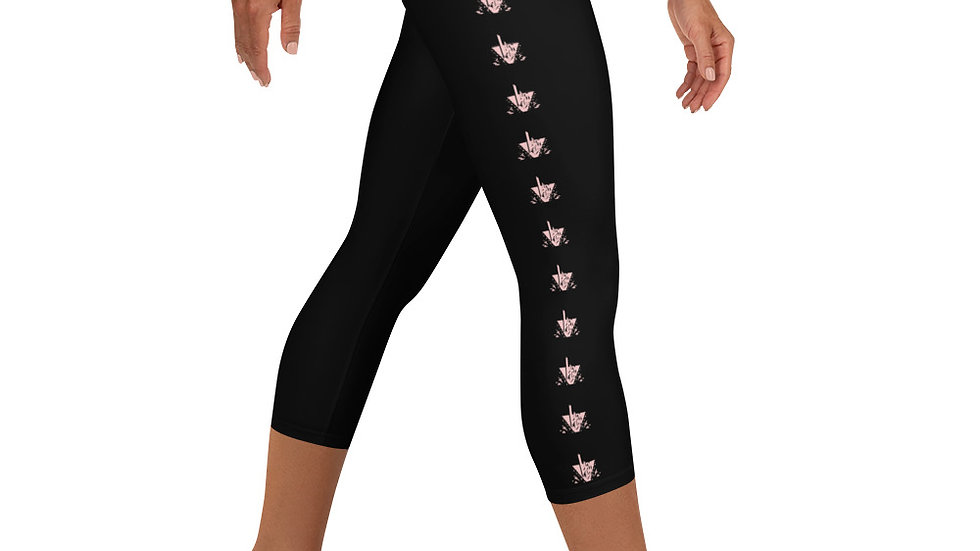 LV Black Leggings w/Baby Pink logo