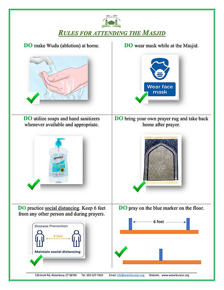 Rules for Attending the Masjid - COVID-1