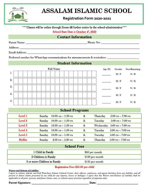 Assalam Islamic School Registration Form