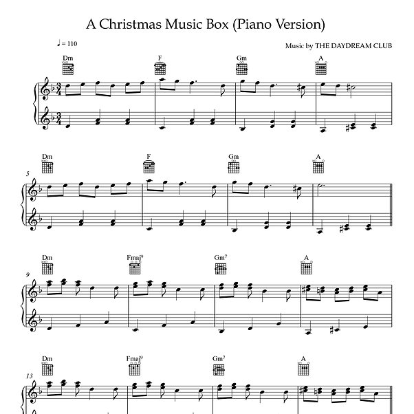 A Christmas Music Box - Piano Version by The Daydream Club sheet music