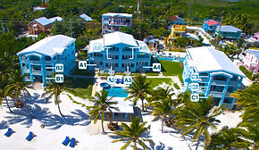Layout of the resort buildings at Sunset beach condos in Belize, Ambergris Caye.  Each Condo location is pinpointed.