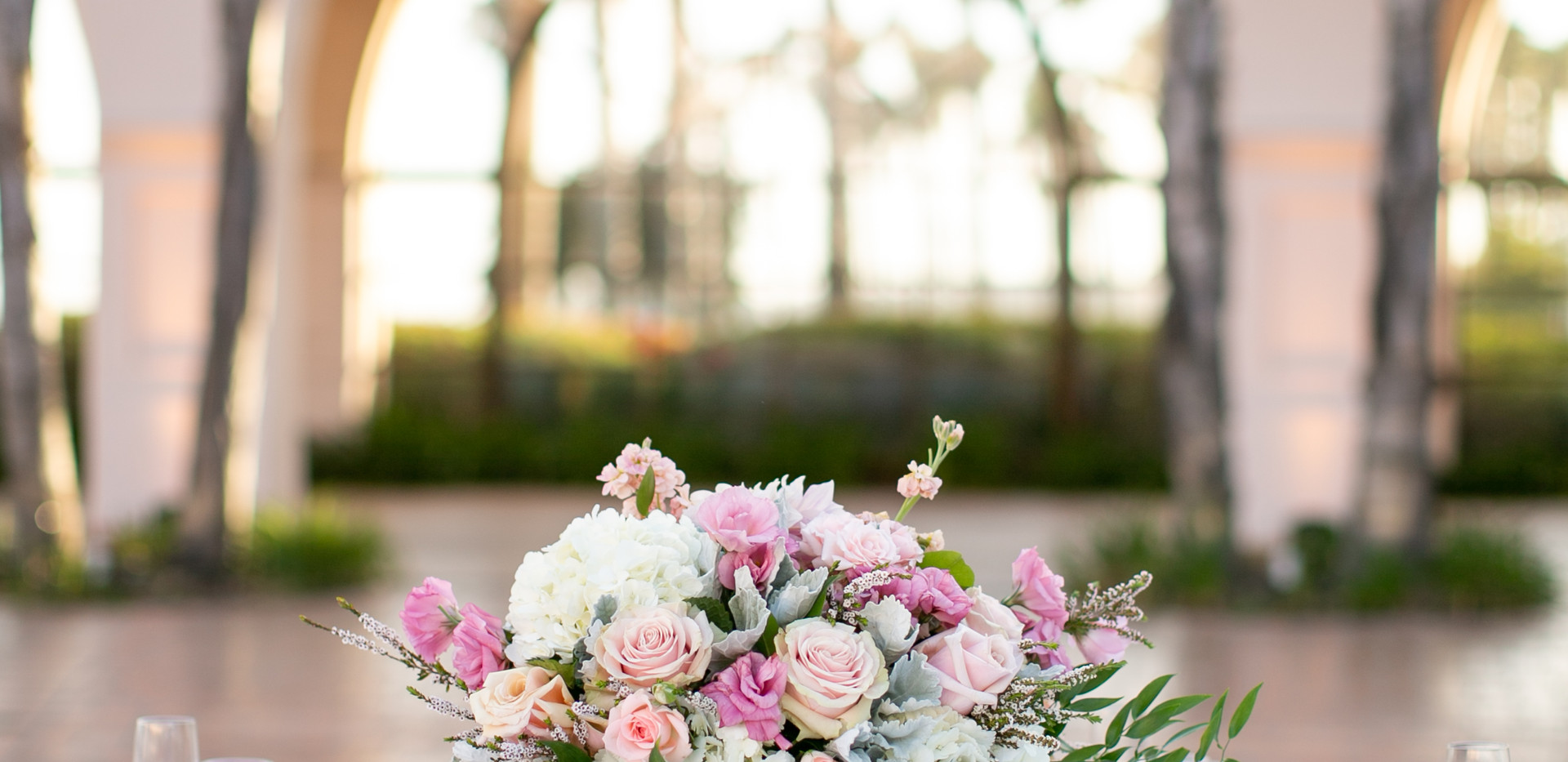 Pink and White Wedding Reception Table Setting