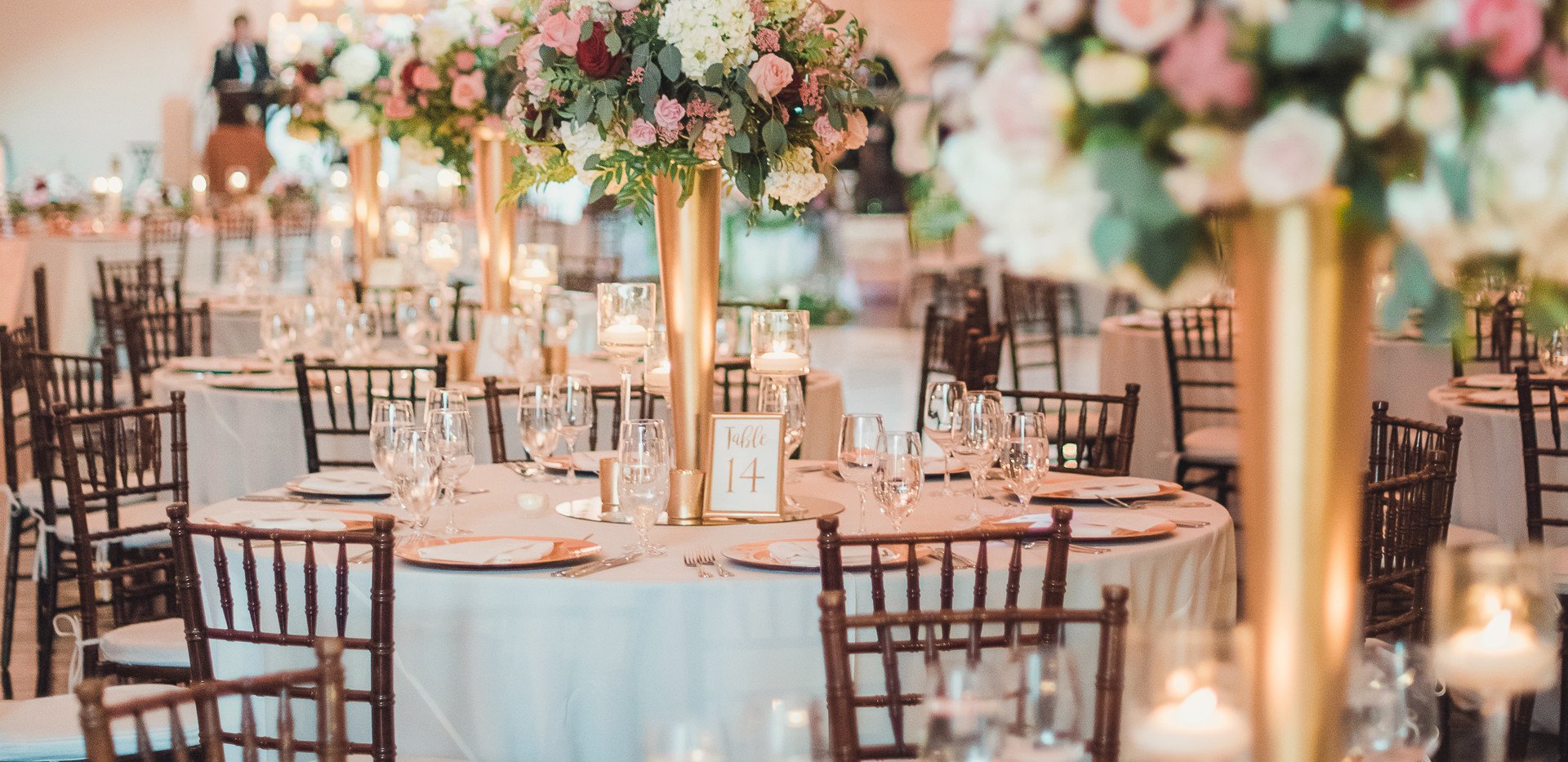 Blush, White, and Red Los Angeles Wedding Reception