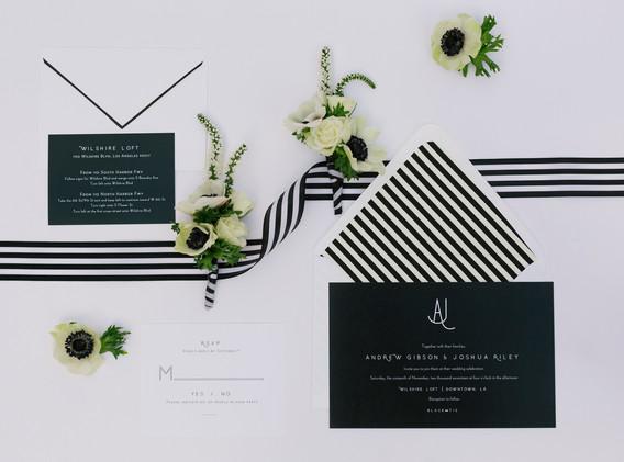 Black and White Striped Wedding Invitation Suite