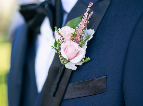 Groom's Boutonniere in Pink with Navy Ribbon