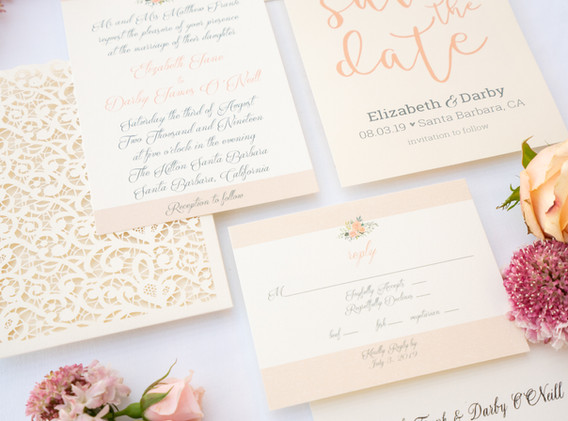 Pink and Navy Wedding Invitations with Lace Detail