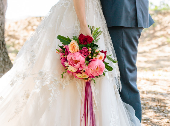 Red, Pink, and White Wedding Flower Bouquet