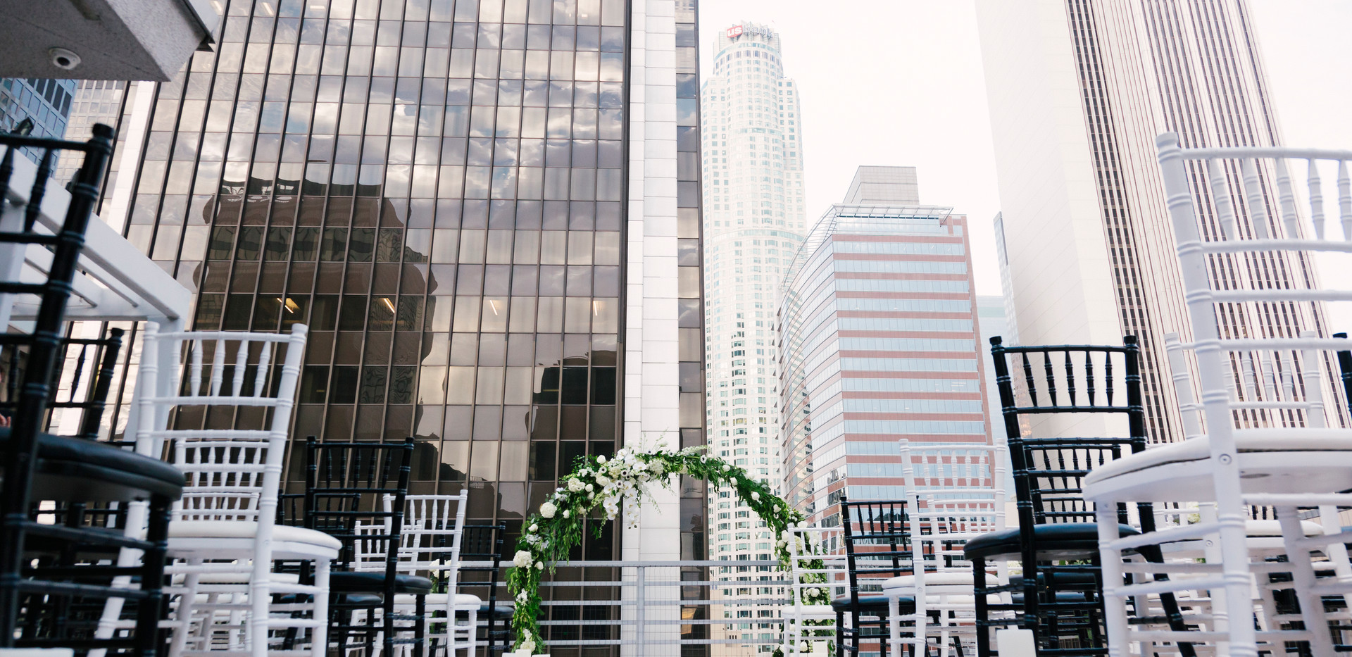 Black and White DTLA Rooftop Wedding