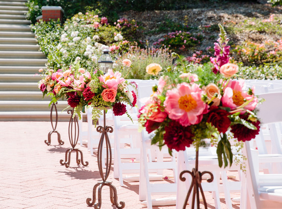 Red, Pink, and White Wedding Floral Arrangements