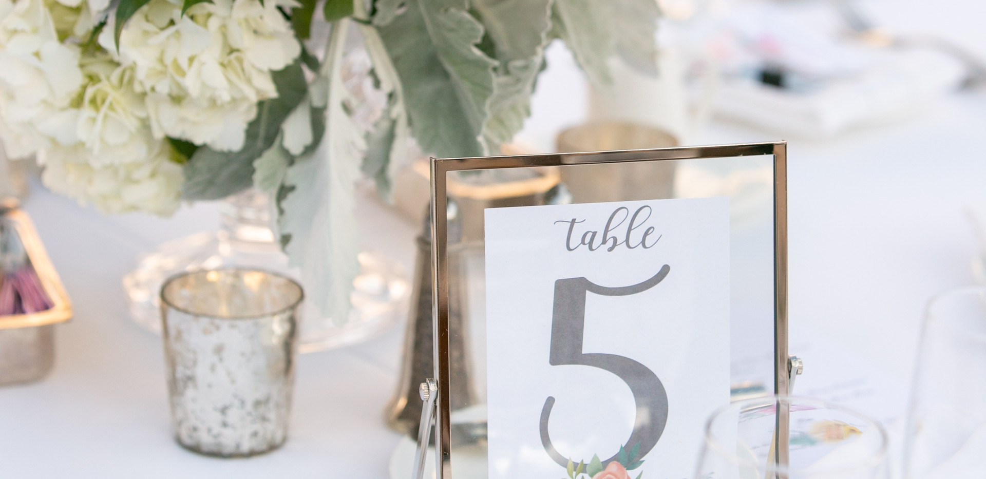 Pink and White Floral Centerpiece with Matching Table Numbers