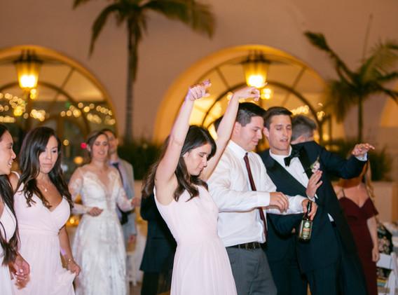Pink and White Santa Barbara Wedding Party