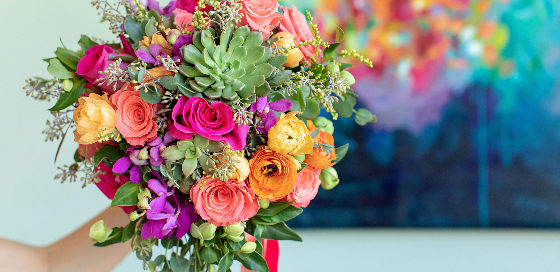 Colorful and Bright Wedding Bouquet