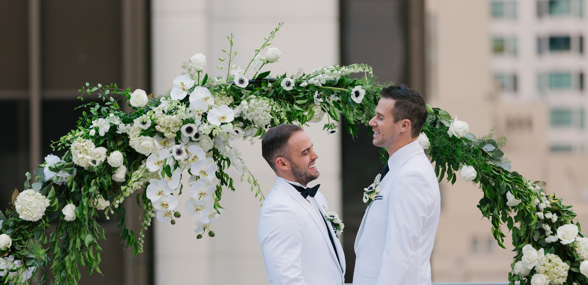 White and Green Floral Wedding Arch