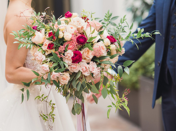 Blush, Red, and White Wedding Bouquet