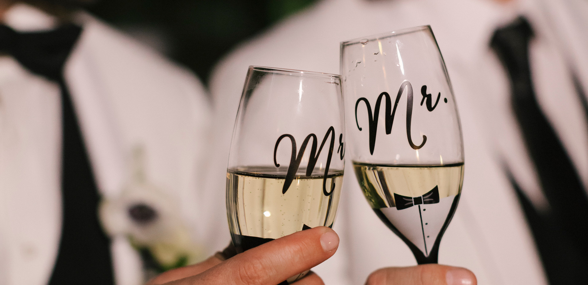 Matching Black and White Toasting Glasses
