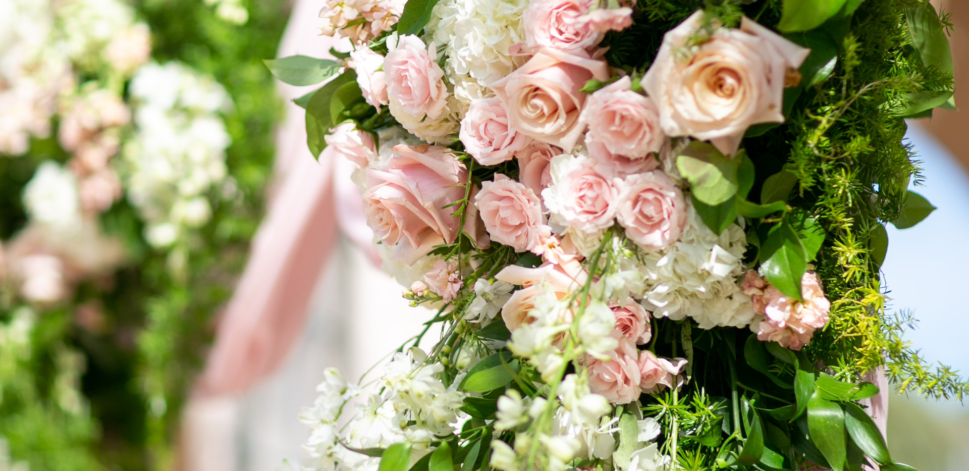 Pink and White Wedding Ceremony Flowers
