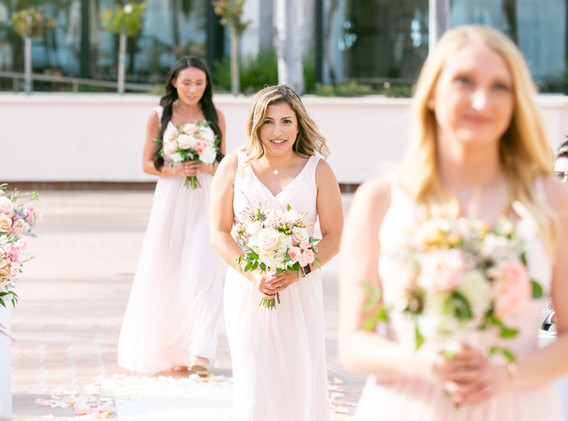 Pink and White Bridesmaid Dresses and Bouquets