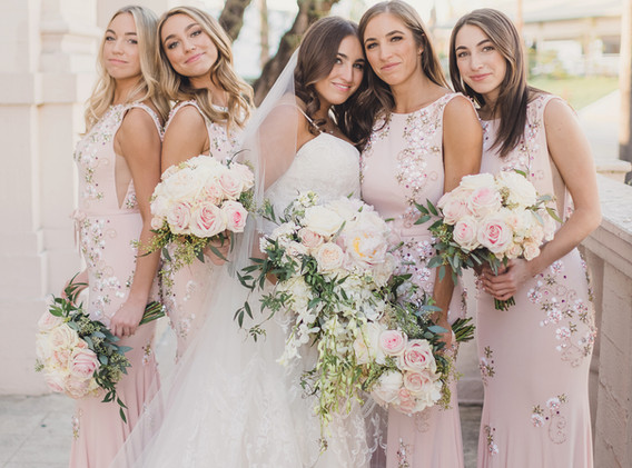 Old Hollywood Glam Blush and White Bridesmaids