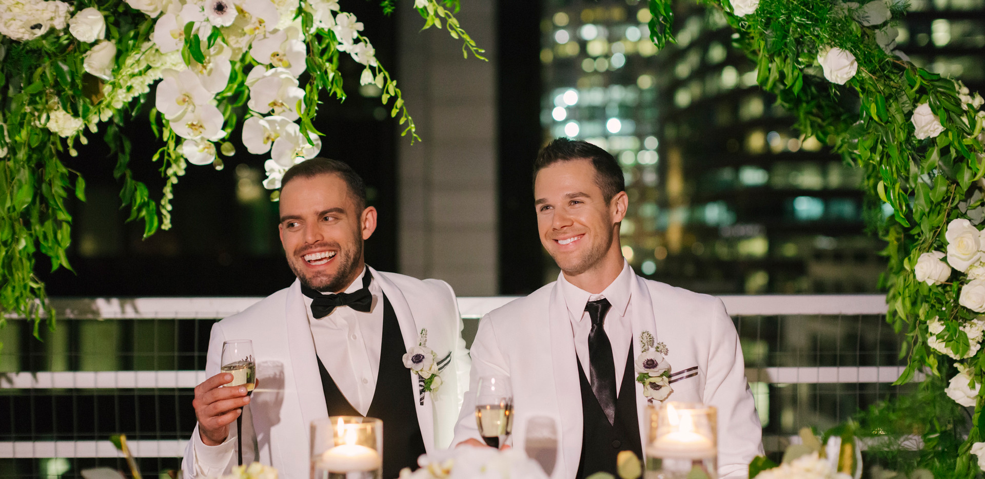 Black and White Rooftop Wedding Reception