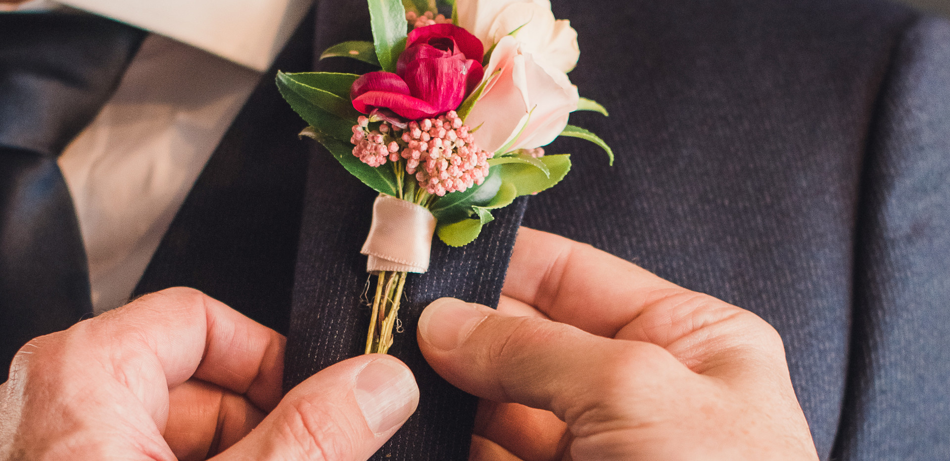 Groom's Blush, Red, and White Boutonniere