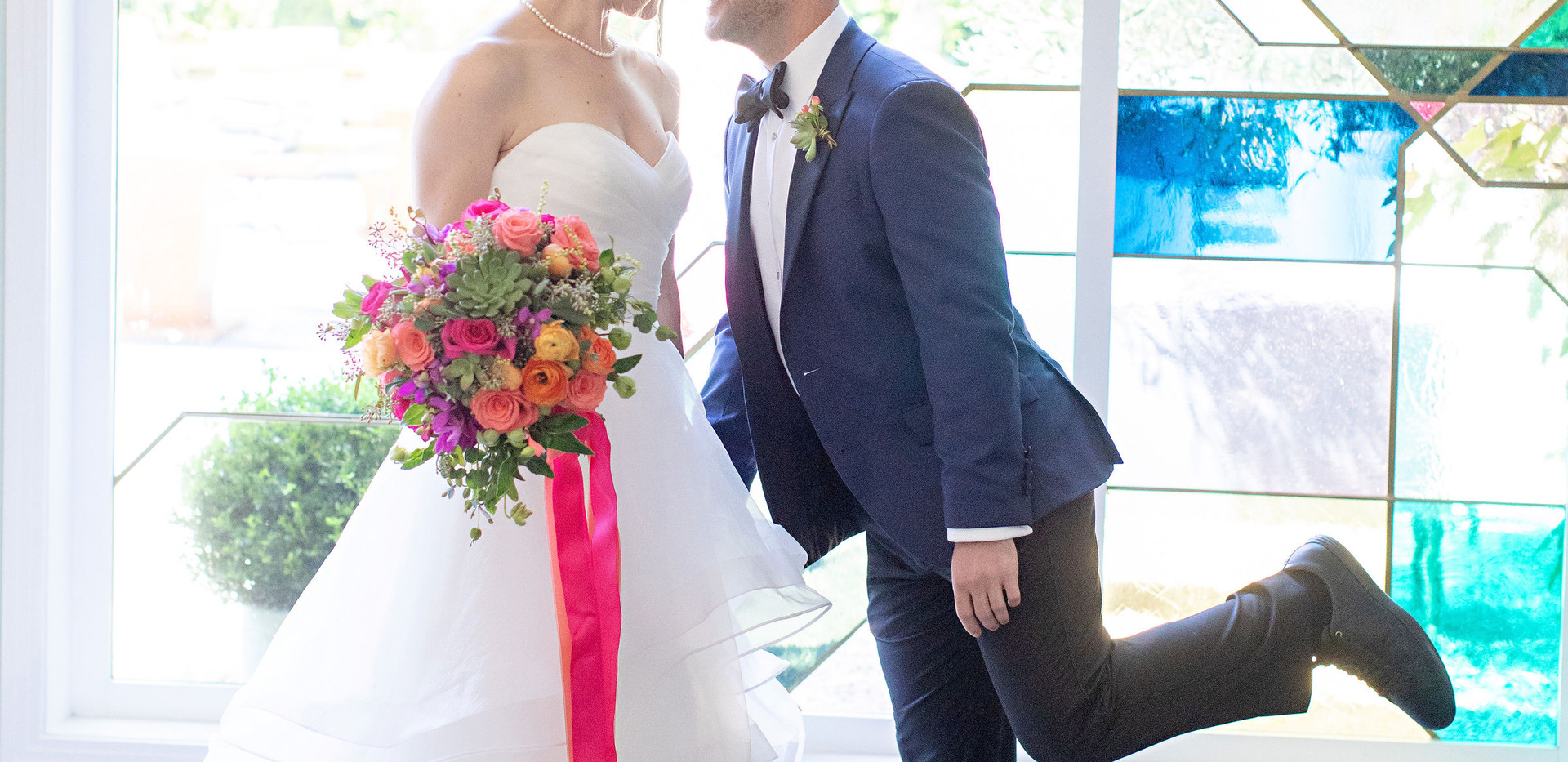 Fig House Wedding With Vibrant Stained Glass Windows